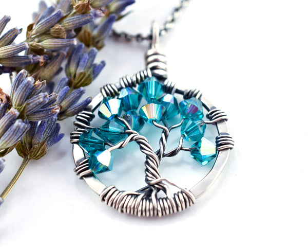 Silver Blue Zircon Tree of Life Crystal Necklace (December)