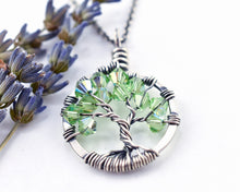 Silver Peridot Tree of Life Crystal Necklace (August)