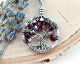 Silver Ruby Tree of Life Crystal Necklace (July)