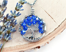 Silver Sapphire Tree of Life Crystal Necklace (September)
