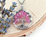 Silver Rose Tree of Life Crystal Necklace (October)