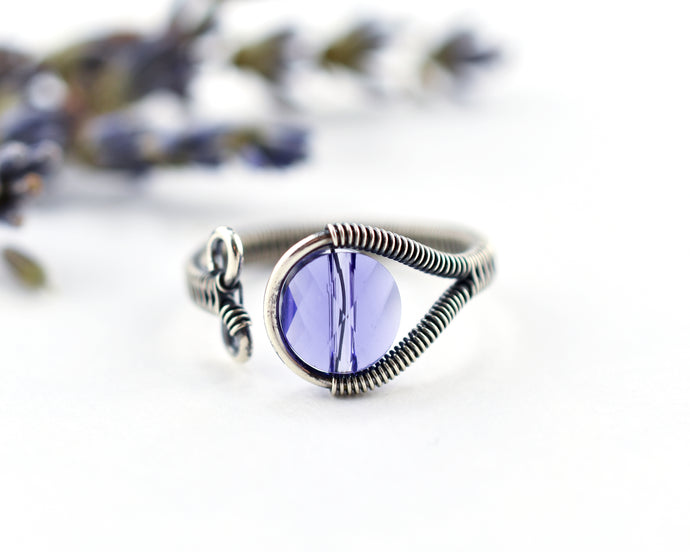 Crystal Woven Ring, adjustable