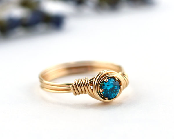 Girl's Blue Zircon Birthstone Ring