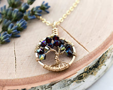 Gold Garnet Tree of Life Crystal Necklace (January)