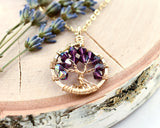 Gold Amethyst Tree of Life Crystal Necklace (February)