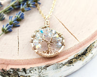 Gold Diamond Tree of Life Crystal Necklace (April)