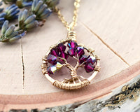 Gold Ruby Tree of Life Crystal Necklace (July)