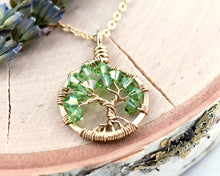 Gold Peridot Tree of Life Crystal Necklace (August)