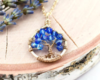Gold Sapphire Tree of Life Crystal Necklace (September)