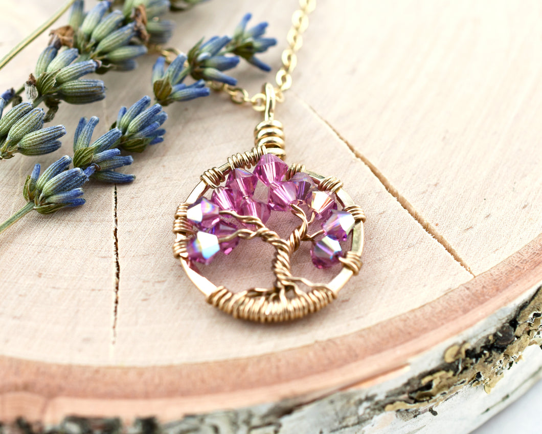 Gold Rose Tree of Life Crystal Necklace (October)