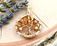 Gold Yellow Topaz Tree of Life Crystal Necklace (November)