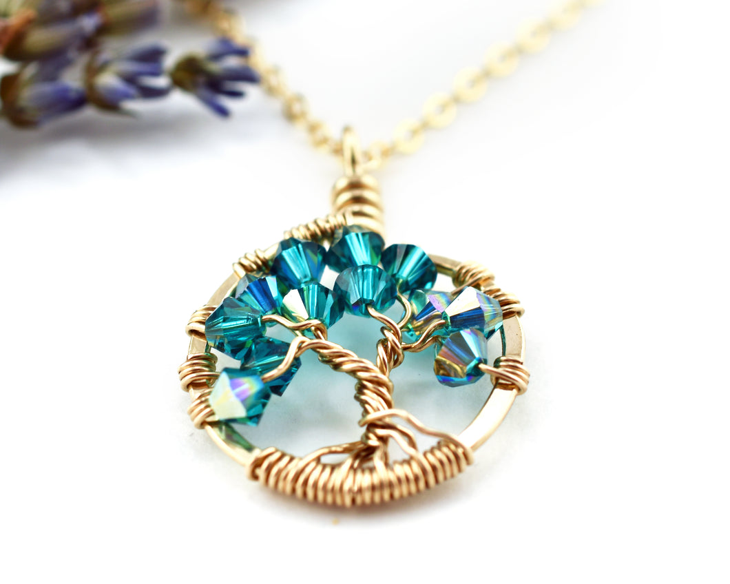 Gold Blue Zircon Tree of Life Crystal Necklace (December)