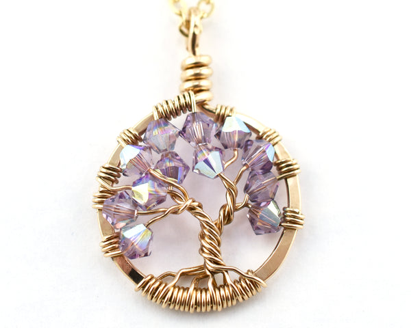 Gold Alexandrite Tree of Life Crystal Necklace (June)
