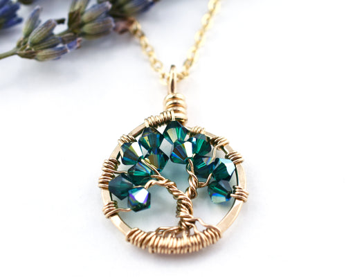 Gold Emerald Tree of Life Crystal Necklace (May)