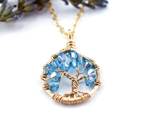 Gold Aquamarine Tree of Life Crystal Necklace (March)