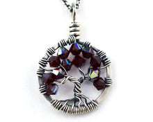 Silver Garnet Tree of Life Crystal Necklace (January)