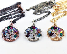 Gold Birthstone Family Tree of Life Necklace