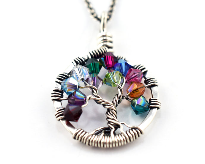 Sterling Silver Birthstone Family Tree of Life Necklace
