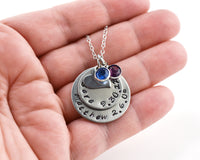 Mother's Stamped Necklace - 2 names and dates