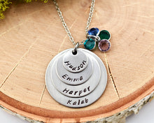 Silver Family Necklace - 4 names