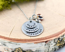Three Name Stamped Necklace