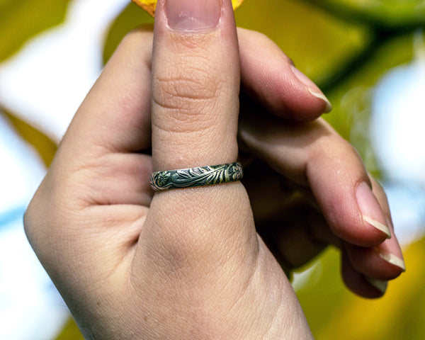 Thick Band Leaf Stacker Ring