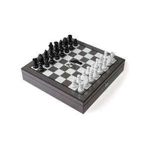 LUXURY CARBON FIBER CHESS SET WITH INSIDE COMPARTMENTS - Out of the Box NY Gifts