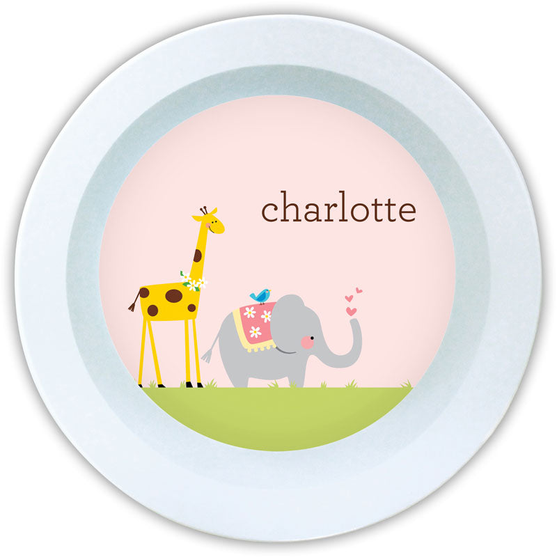 GIRAFFE/ELEPHANT MELAMINE BOWL - Out of the Box NY Gifts