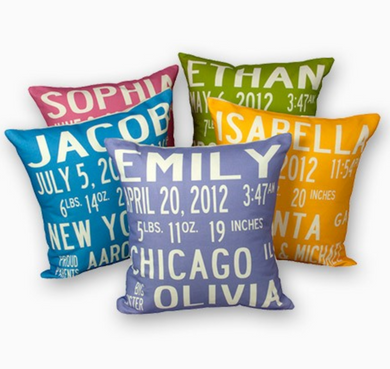 BABY ANNOUNCEMENT PILLOW - Out of the Box NY Gifts