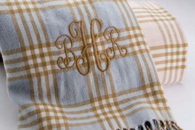 MONOGRAMMED RECEIVING BLANKET - PLAID WITH FRINGE - Out of the Box NY Gifts