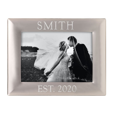 ENGRAVED  5 X 7 SILVER  PICTURE FRAME - Out of the Box NY Gifts