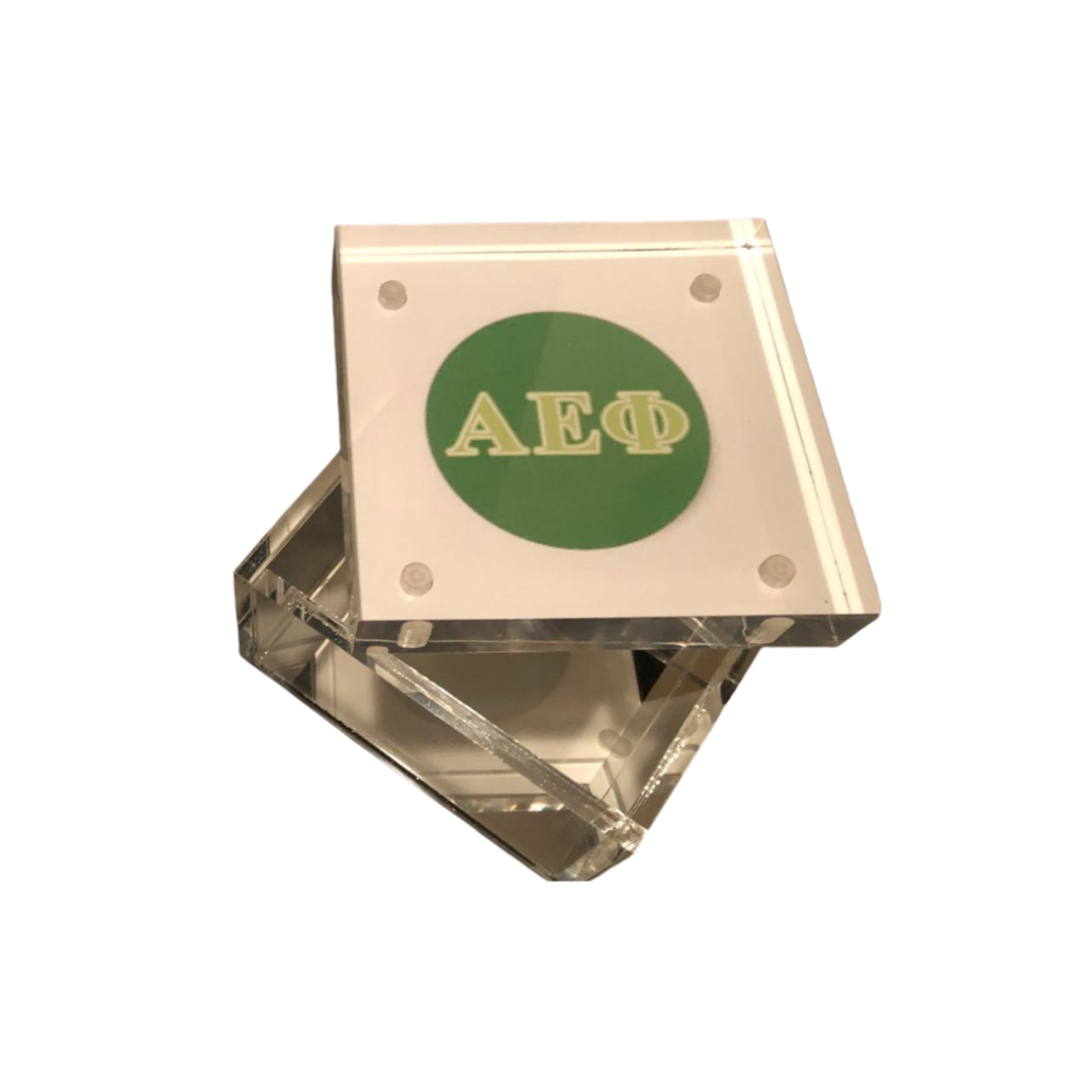 SORORITY LUCITE KEEPSAKE BOX - SQUARE - Out of the Box NY Gifts
