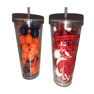 CLEAR COLLEGE TUMBLER w/ STRAW - Out of the Box NY Gifts