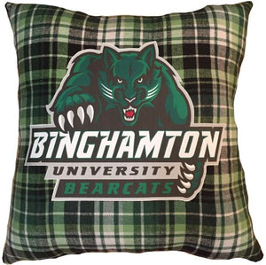 FLANNEL PLAID PILLOW WITH COLLEGE LOGO - Out of the Box NY Gifts