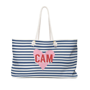 STRIPES & HEART TRAVEL TOTE - Out of the Box NY Gifts
