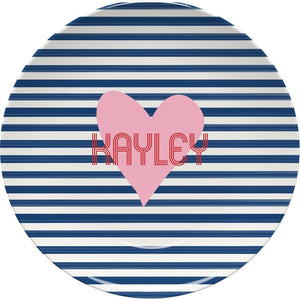 STRIPES AND HEART MELAMIINE PLATE - Out of the Box NY Gifts