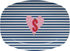 STRIPES AND HEART MELAMIINE PLATTER - Out of the Box NY Gifts