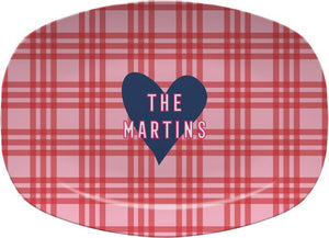 PLAID AND HEART MELAMIINE PLATTER - Out of the Box NY Gifts