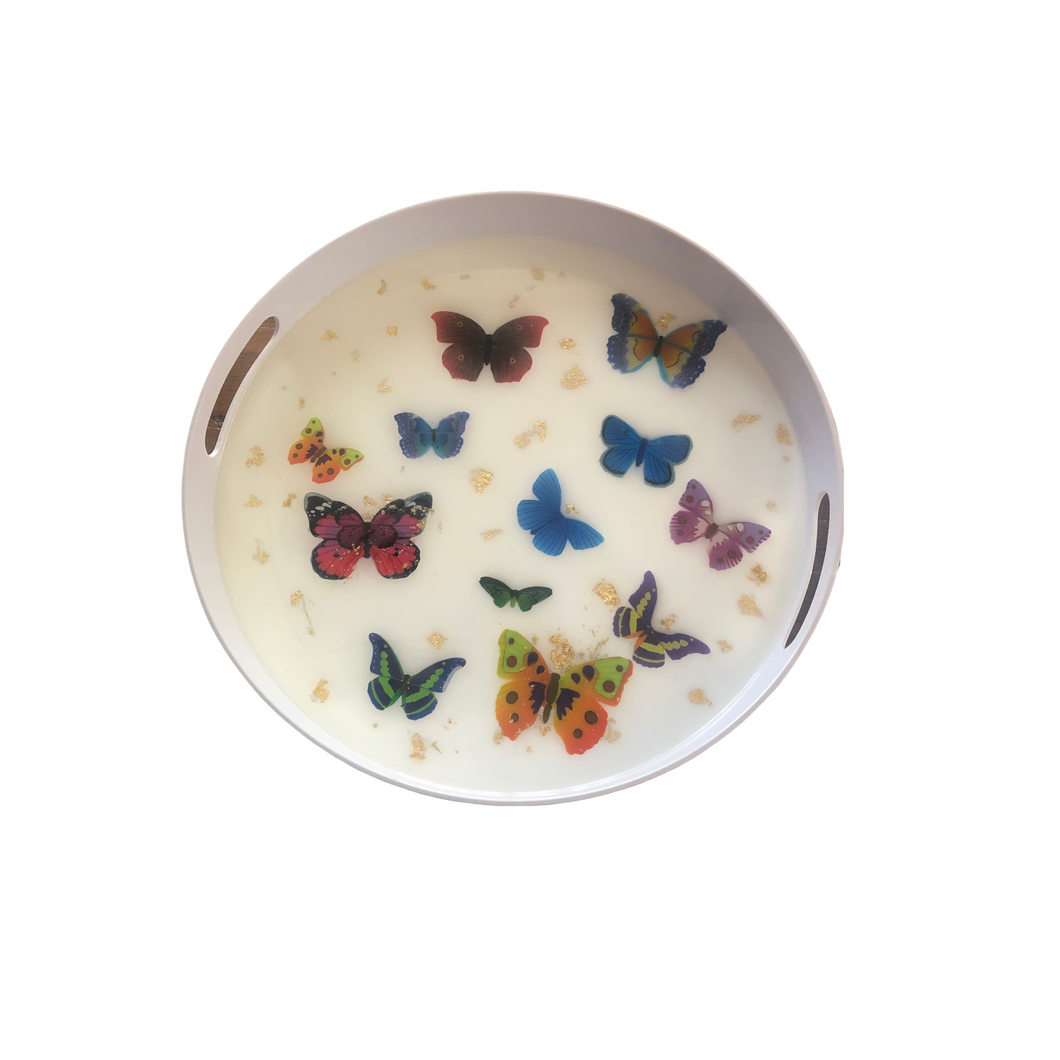 ROUND BUTTERFLY TRAY - Out of the Box NY Gifts