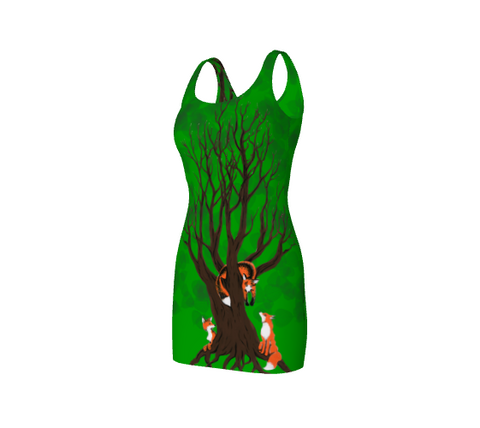 Forest Foxes Bodycon Dress By Zan Natural Lynx - Natural Lynx
