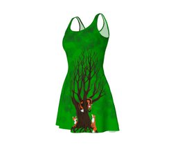 Forest Foxes Flare Dress By Zan Natural Lynx - Natural Lynx