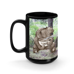 Hot Drinks with Forest Friends - Black Mug 15oz Printify - Natural Lynx