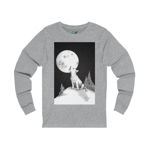 Lil' Howlin' Wolf by Zan - Unisex Jersey Long Sleeve Tee Printify - Natural Lynx