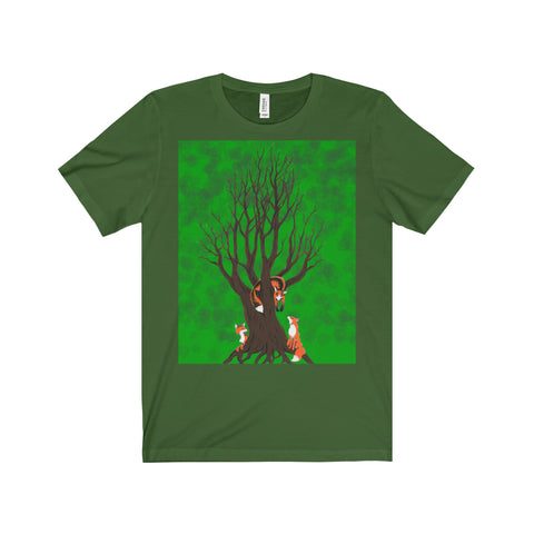 Forest Foxes by Zan Unisex Comfort Tee Printify - Natural Lynx