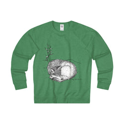 Sleepy Wolf - by Zan - Unisex Terry Crew Sweatshirt Printify - Natural Lynx