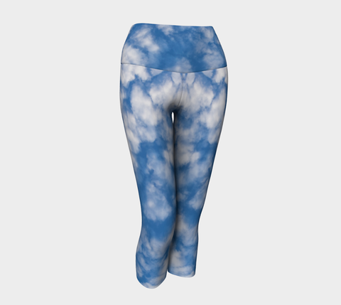 Fluffy Clouds Sky Yoga Legging Capri's Natural Lynx - Natural Lynx