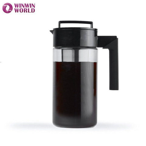 1300ml Cold Coffee Brewer Iced Coffee Maker Induser Black Pot Cold Brew Coffee Maker Tea Pot With Fruit Infusion Filter WW-FE007
