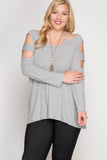 Long Sleeve Cut Out Top [Plus] {grey}