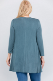Washed Jersey Keyhole Tunic- Teal [Plus]