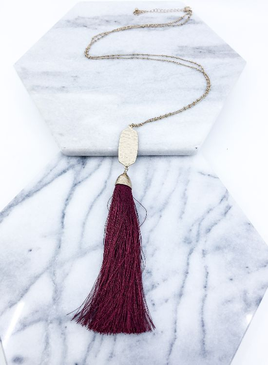 Pendant & Tassel- Necklace {burgundy or mustard}